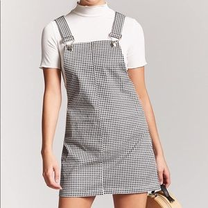 F21 gingham overall dress